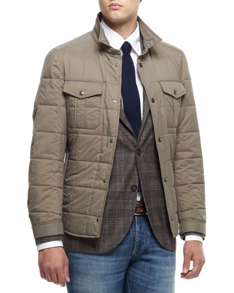 Quilted Nylon Short Jacket, Madras Check Notch-Collar Jacket, Button-Down ...