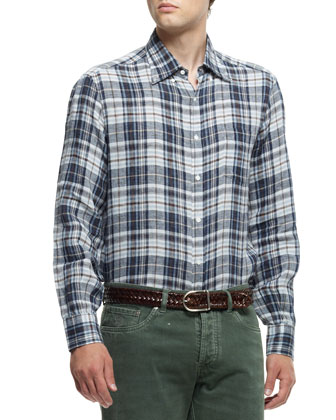 Plaid Button-Down Shirt, Brown/Blue