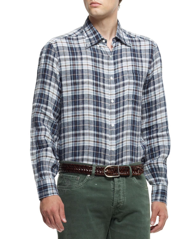 Mens Plaid Button Down Shirt, Brown/Blue   Brunello Cucinelli   Brown/Blue