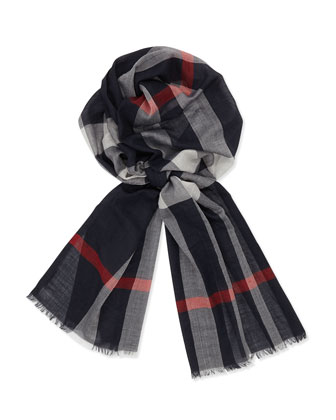Check Gauze Tissue Scarf, Navy