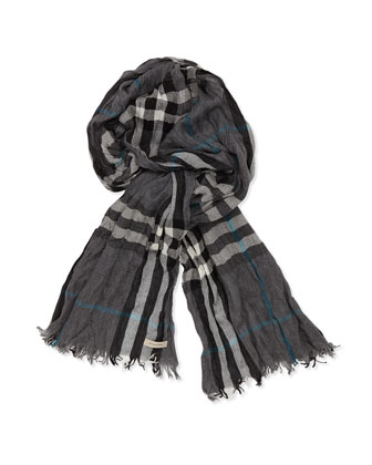 Crinkled Check Scarf, Mid Gray