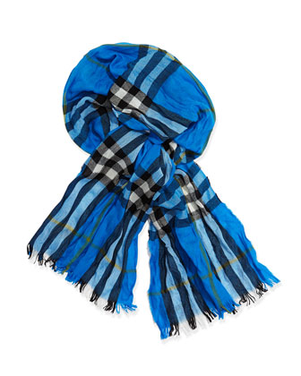Men's Check Crinkled Scarf, Bright Opal