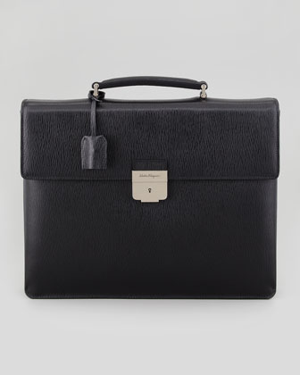 Revival Double-Gusset Briefcase, Nero