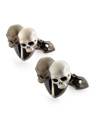 Men's Double-Skull Cuff Links