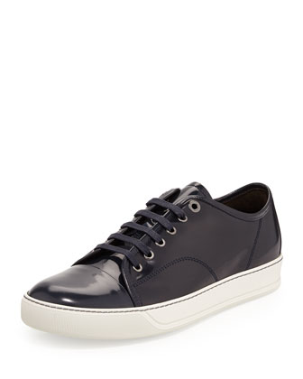 Men's Patent Leather Low-Top Sneaker, Navy