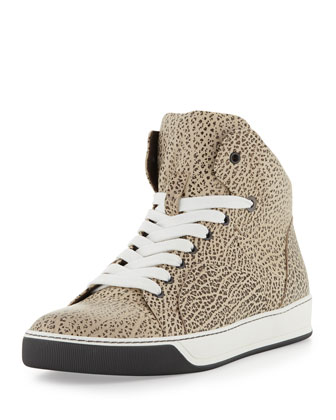 Printed Full-Grain Leather High-Top Sneaker, Black/White