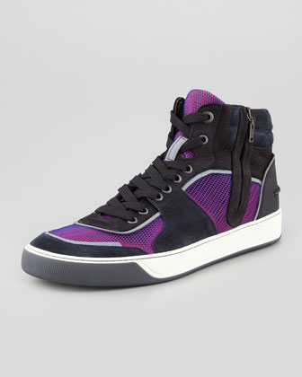 Mesh & Suede Hi-Top Sneakers, Fuchsia/Red