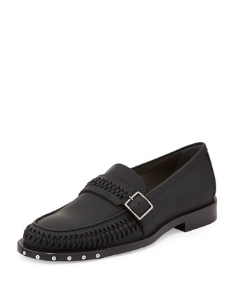 Woven Rubberized Calfskin Loafer, Black