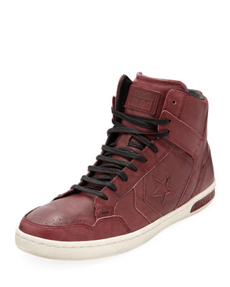 Weapon Ball & Chain High-Top Sneaker, Burgundy