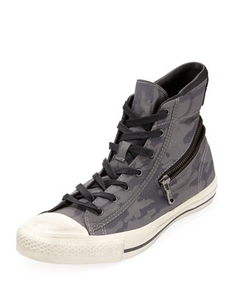 Hidden-Zipper Camo-Print High-Top Sneaker