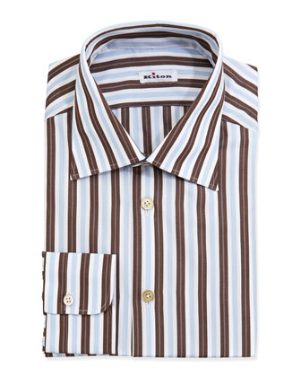 Woven Striped Dress Shirt, Brown