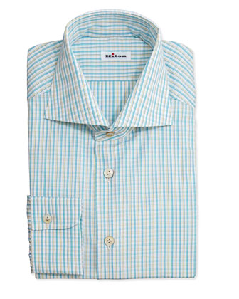 Plaid Woven Dress Shirt, Yellow