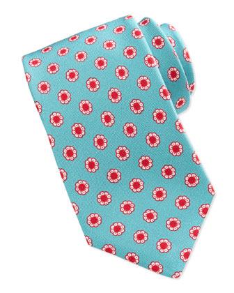 Flower-Neat Tie, Teal