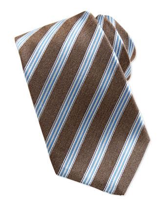 Woven Track-Stripe Tie, Brown