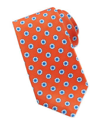 Flower-Neat Tie, Orange