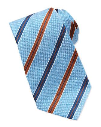 Melange Grosgrain-Stripe Tie, Blue