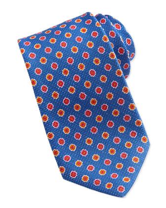 Grenadine Floral-Neat Tie, Blue
