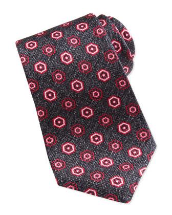 Grenadine Geometric-Neat Tie, Gray