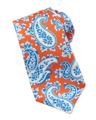 Paisley-Print Silk Tie, Orange