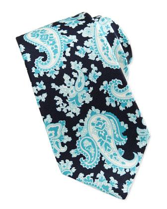 Paisley-Print Silk Tie, Navy