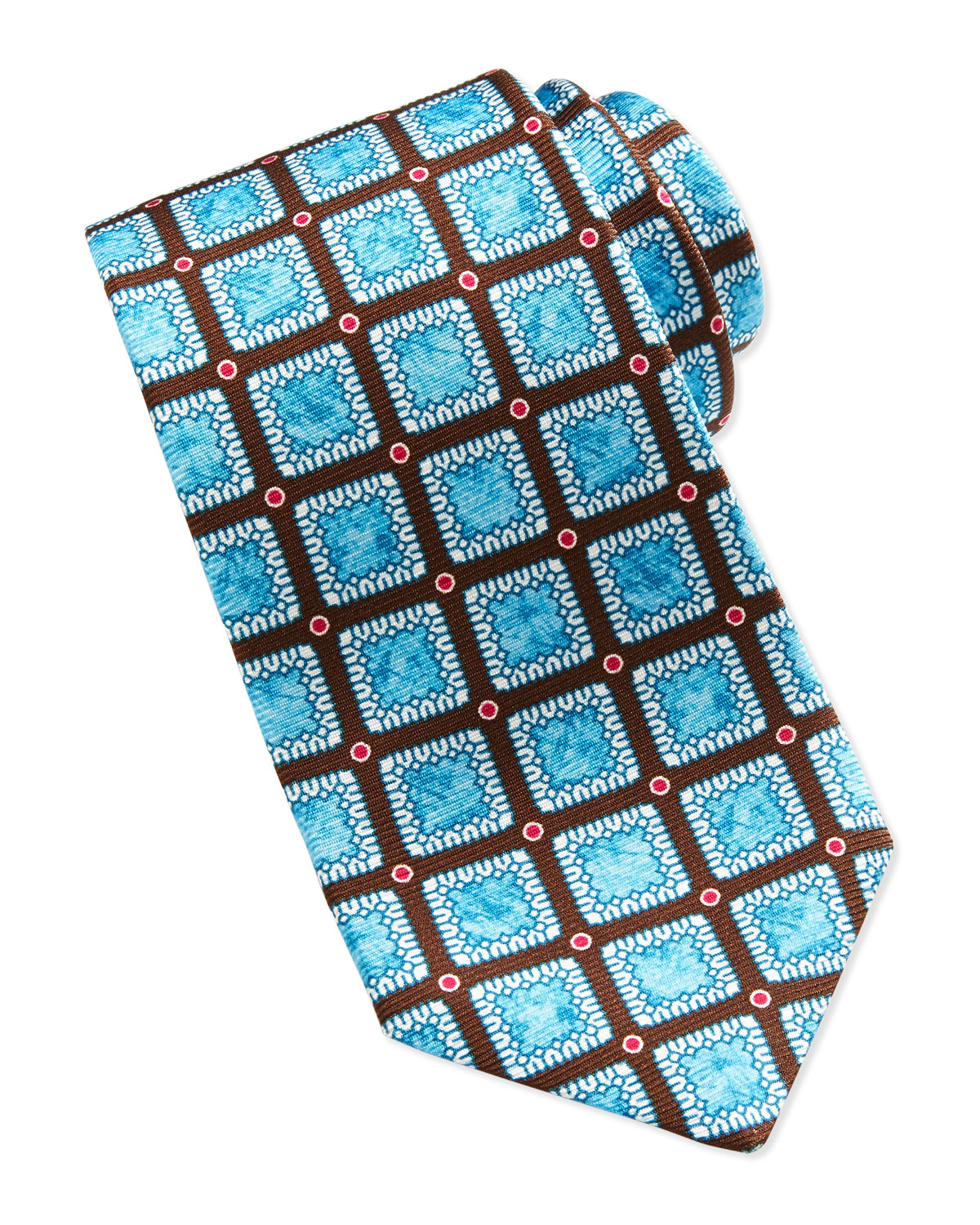 800e264f7c0b Mens Medallion and Dot Print Silk Tie, Brown Kiton Brown on PopScreen