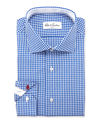 Jaylon Gingham Dress Shirt, Blue