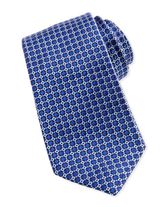 Mini-Box Neat Silk Tie, Blue/Aqua
