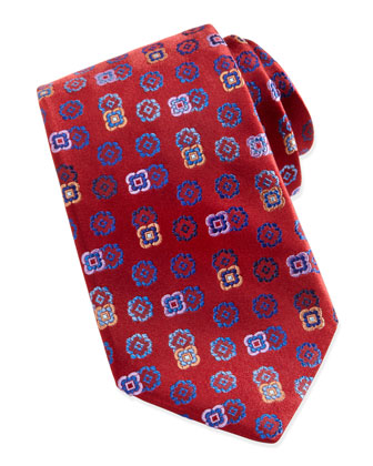 Tossed-Florette Silk Tie, Red