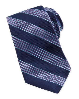 Beaded Stripe Jacquard Tie, Navy/Aqua