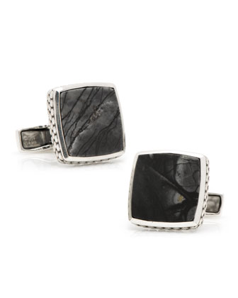 Sterling Picasso-Stone Cuff Links