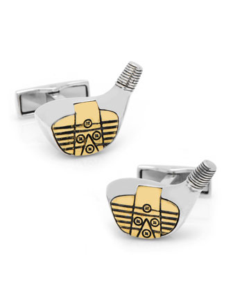 Sterling Silver Golf-Driver Cuff Links