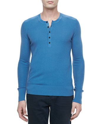 Knit Long-Sleeve Henley Shirt, Light Blue