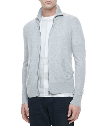 Full-Zip Cardigan Sweater, Gray