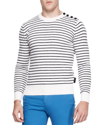 Striped Tri-Blend Crewneck Sweater, White/Blue