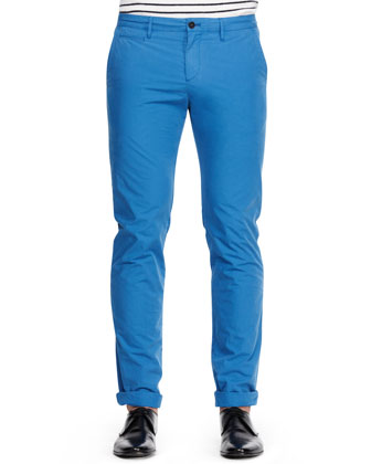 Slim-Fit Cotton Chino Pants, Blue