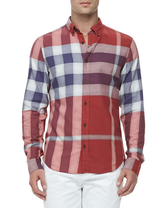 Exploded Check Long-Sleeve Shirt, Military Red