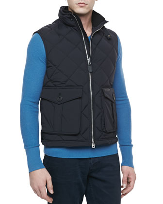 Quilted Nylon Zip-Front Vest, Black