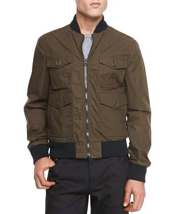 Reversible Nylon Bomber Jacket, Khaki/Camo