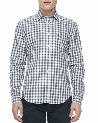 Gingham Woven Long-Sleeve Shirt, Gray
