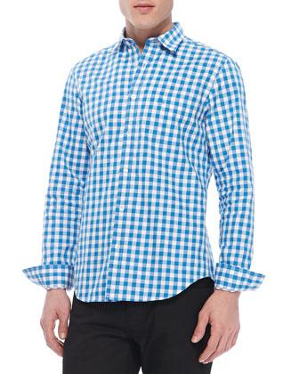 Gingham Woven Long-Sleeve Shirt, Bright Opal