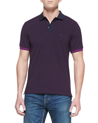 Colorblock Short-Sleeve Polo, Aubergine