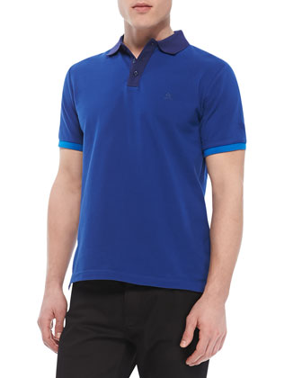 Colorblock Short-Sleeve Polo, Blue