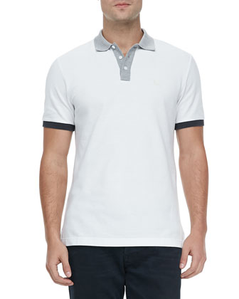 Colorblock Short-Sleeve Polo, White