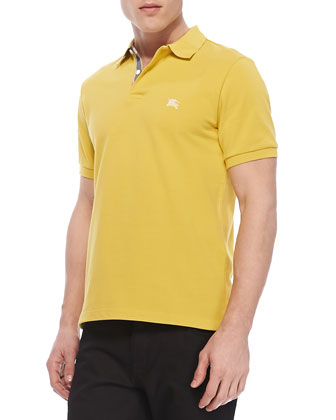 Check-Detail Short-Sleeve Polo, Yellow