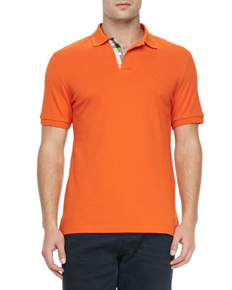 Check-Detail Short-Sleeve Polo, Orange