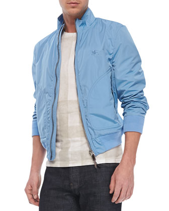 Lightweight Blouson Jacket & Check-Print Short-Sleeve Tee