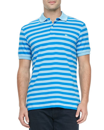 Striped Pique Short-Sleeve Polo, Blue