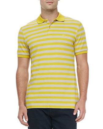 Striped Pique Short-Sleeve Polo, Yellow
