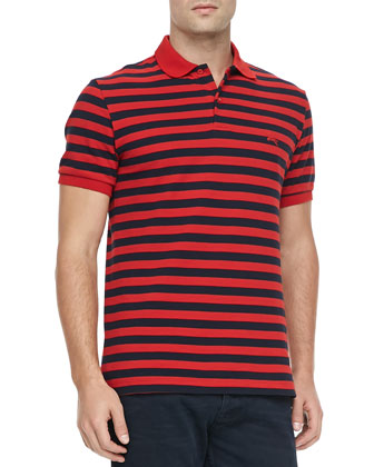 Striped Pique Short-Sleeve Polo, Red/Navy Blue