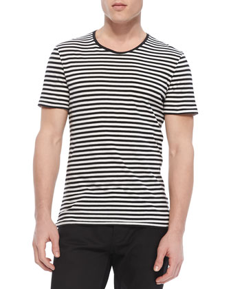 Striped Crewneck Tee, Black/White